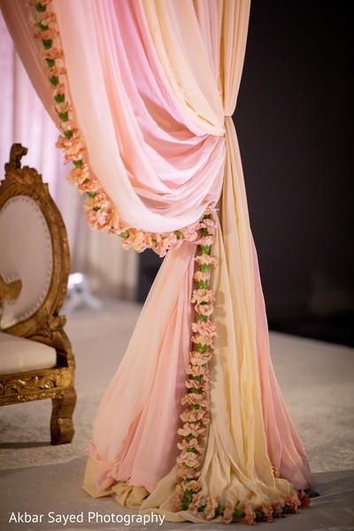 Indian wedding peach carnation mandap decorations.