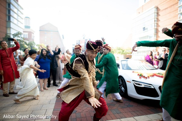 Upbeat indian groom's baraat procession.