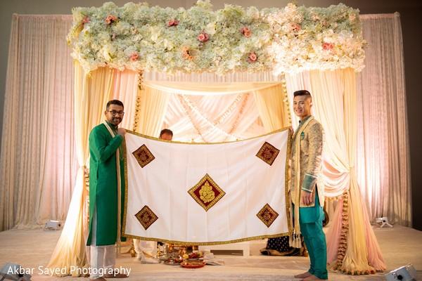 Indian wedding ceremony antarpat ritual.