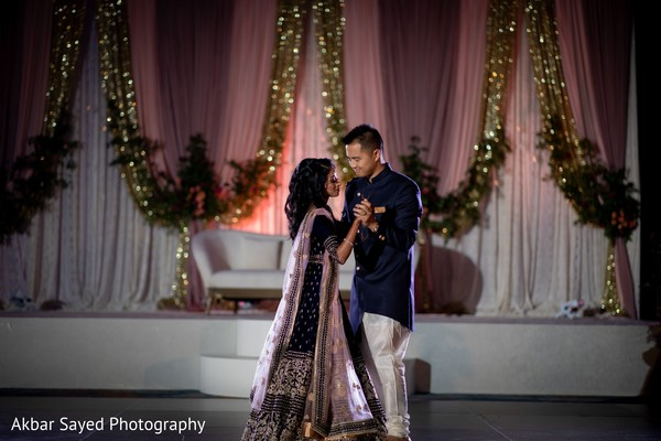 Indian couple during first reception dance.