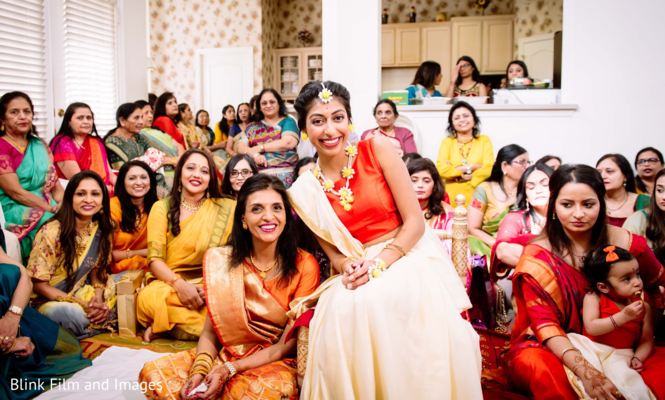 A picture of the Indian bride and the assisting Indian relatives