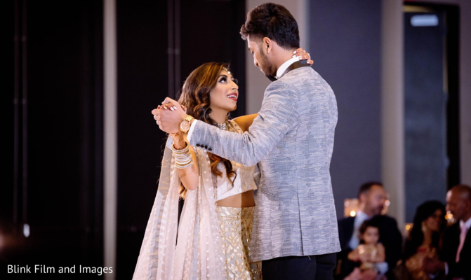 A close take of the Indian newlyweds' first dance
