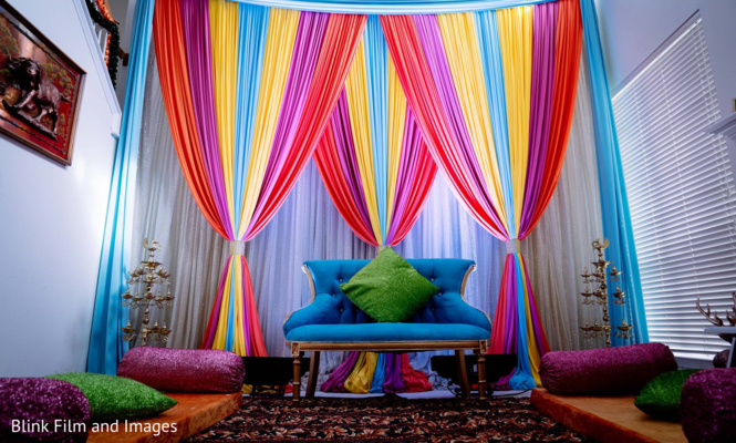 A room decorated with multiple colors
