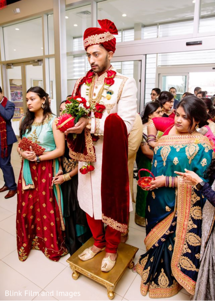 The Indian groom entering the premises