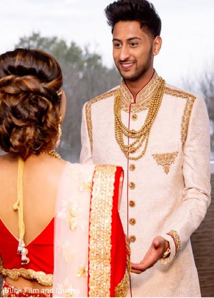 Indian groom staring at his Maharani