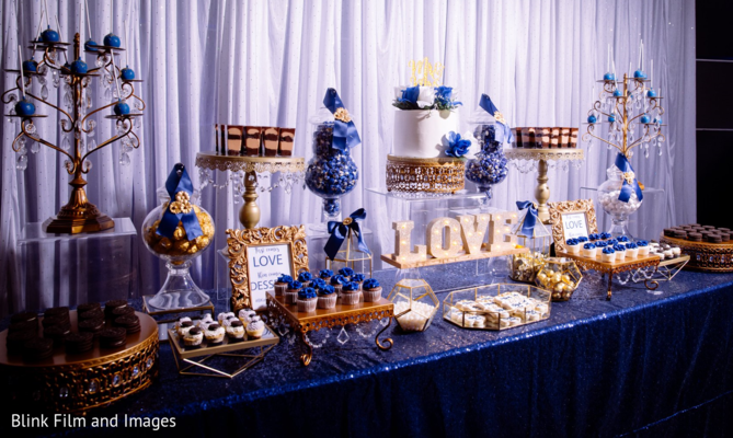 A decorated table with sweets