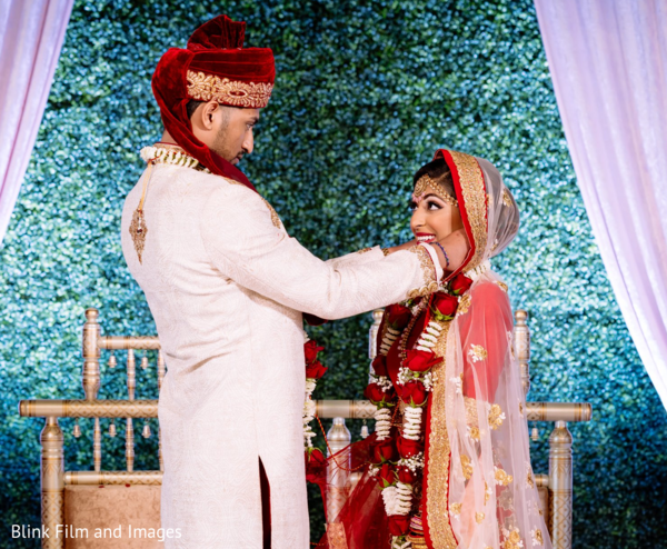 Indian couple sharing a moment on stage