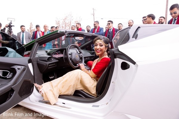 Indian bride taking the wheel