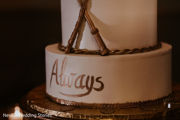 Personalized Indian wedding ivory and golden cake.