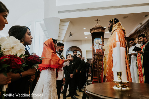 Indian bride and groom during the Christian Indian wedding rituals.