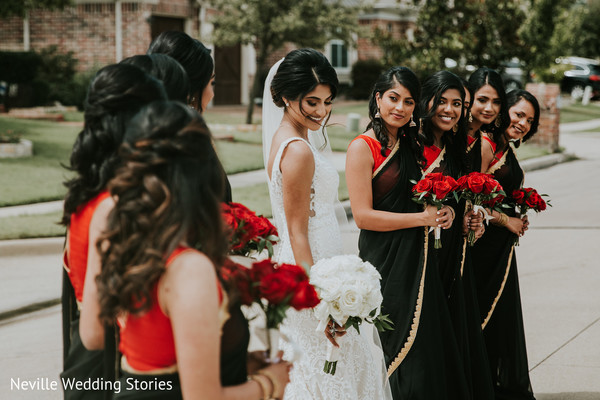 Incredible Indian bride with bridesmaids photography.