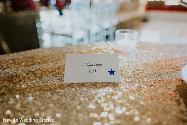 Ivory and blue Indian wedding table placement card.