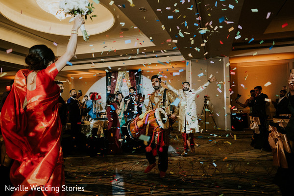 Indian bride and groom meeting at wedding celebration.
