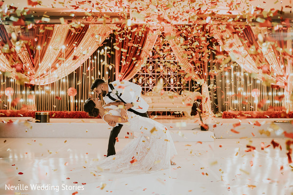 Indian couple at incredible reception dance.