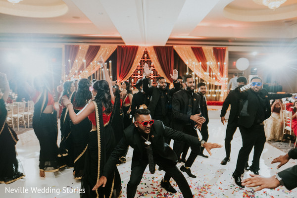Indian bridesmaids and groomsmen reception choreography.