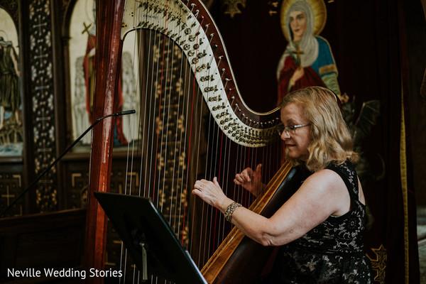 Indian Christian wedding ceremony live harp music.