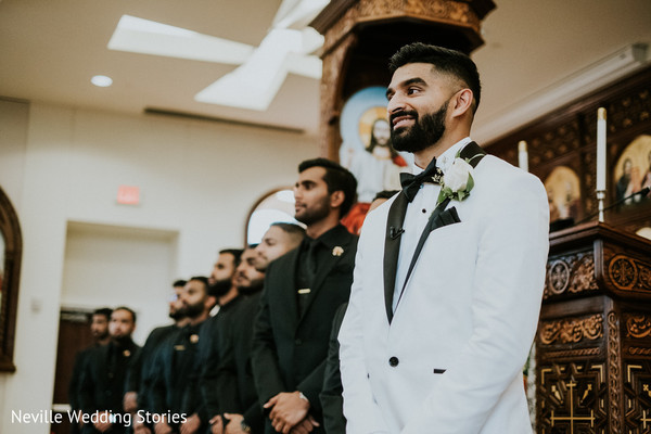 Indian groom waiting for his bride at wedding ceremony.
