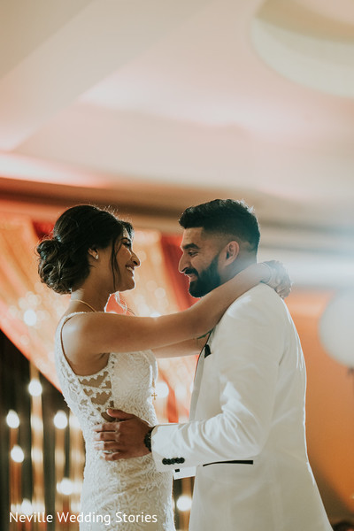 Indian bride and groom romantic first dance capture.