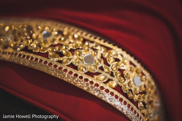 The red scarf to be worn by the Indian groom