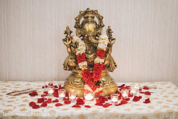 A golden statue of Ganesha