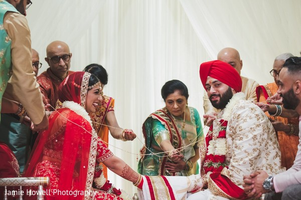 Indian relatives joining the Indian couple with cords
