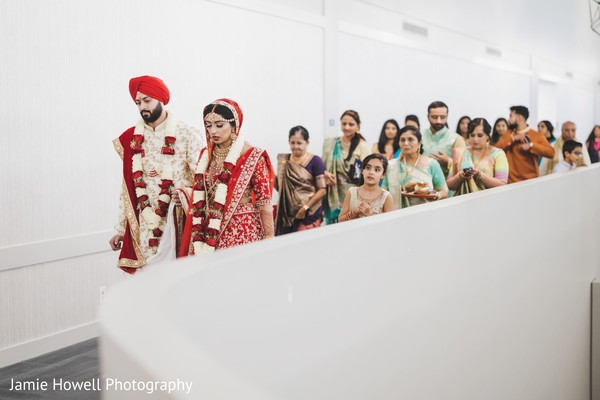 Indian newlyweds leaving the venue