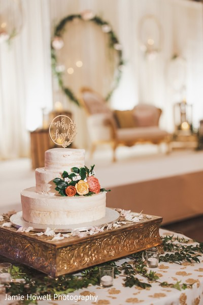 The wedding cake as positioned on the reception hall