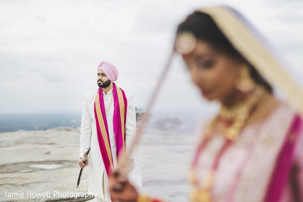 Indian groom looking into the distance