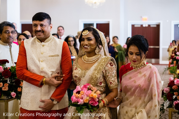 Indian bride and her parents.