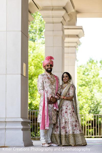 Maharani and Raja smiling for teit photo.