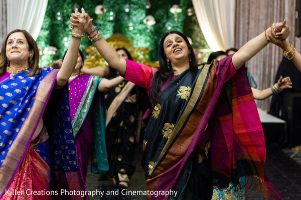 Indian bridesmaids dancing in thhe sangeet.