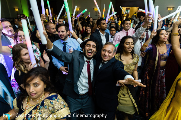 Indian groom and relatives during reception.