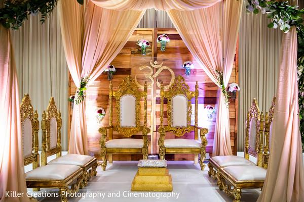 Indian altar decorated for hindu wedding.