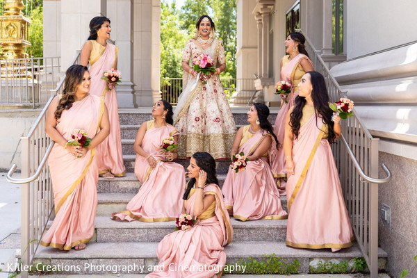 Maharani with her bridesmaids.