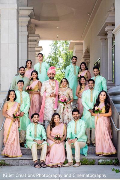 Indian groom and Maharani with their groomsmen and bridesmaids.