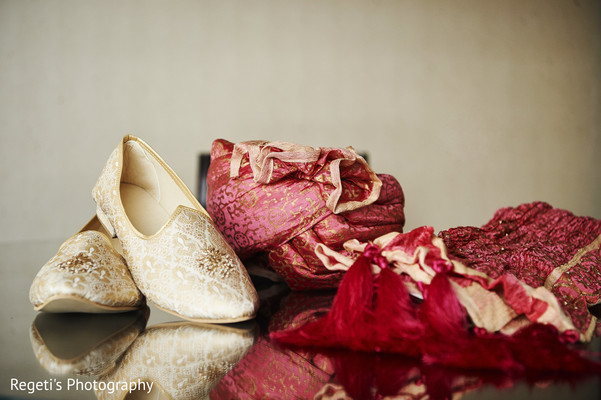 Shoes and clothes worn by Indian groom.