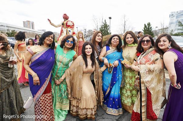 Indian bridesmaids during the baraat.