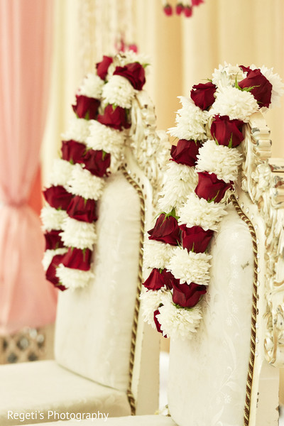 Garlands ready to wear and be exchanged by the Indian couple.