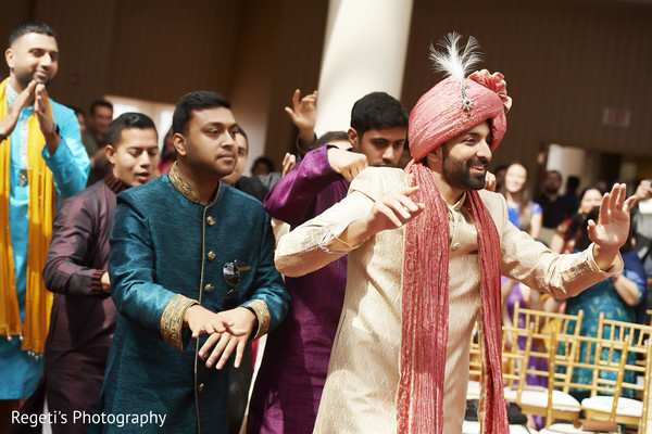 Indian groom arriving to his wedding ceremony.