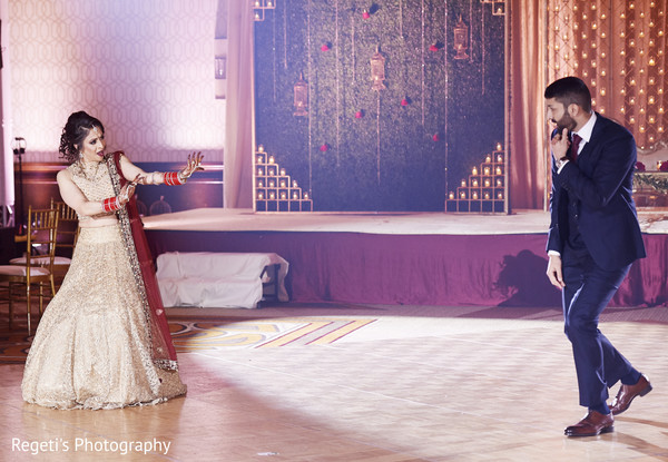 Maharani and her groom performing.