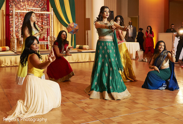 Maharani and bridesmaid's performing during the sangeet.