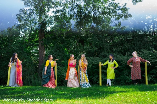 Maharani and her Indian bridesmaids having fun at the forest