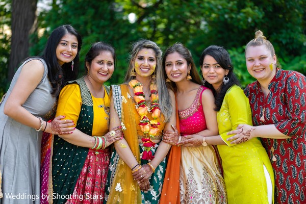 Maharani and her Indian bridesmaids after Gaye Holud