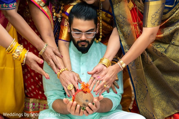 Indian groom and Indian relatives during the celebrations