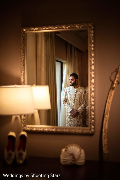 Indian groom's reflecting before the ceremony