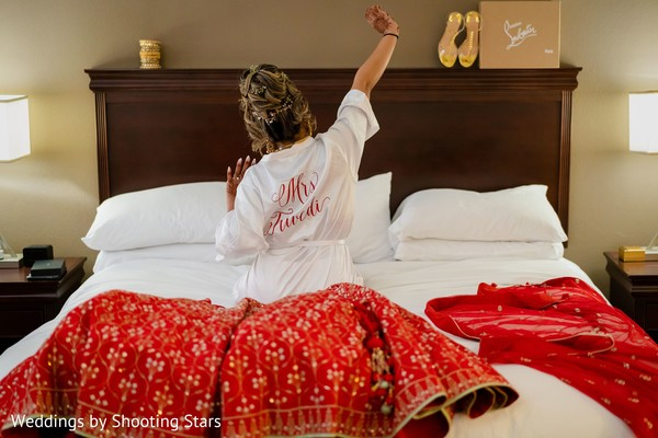 Indian bride getting up on her special day