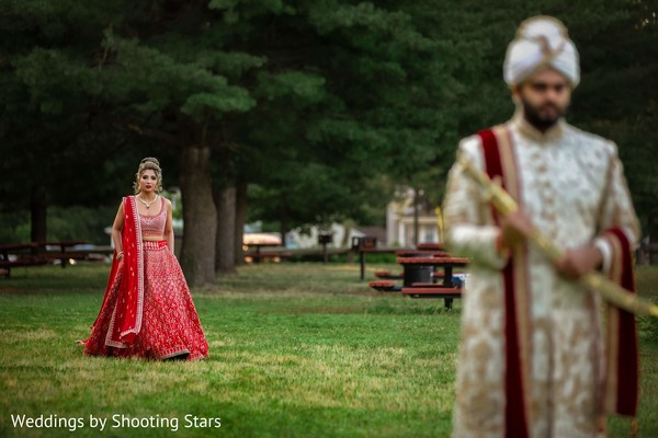 Indian bride approaching her Indian groom