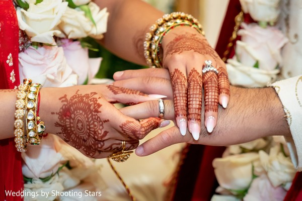 Indian bride putting a ring on her Indian groom's hand