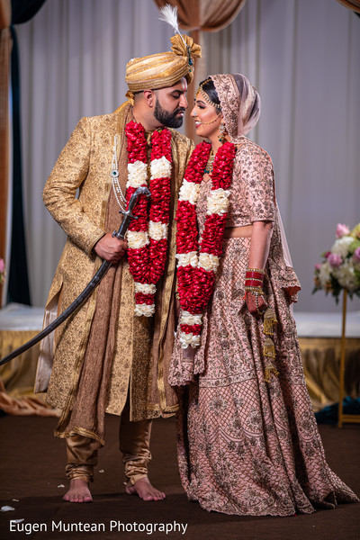 Indian groom and maharani during the Indian wedding