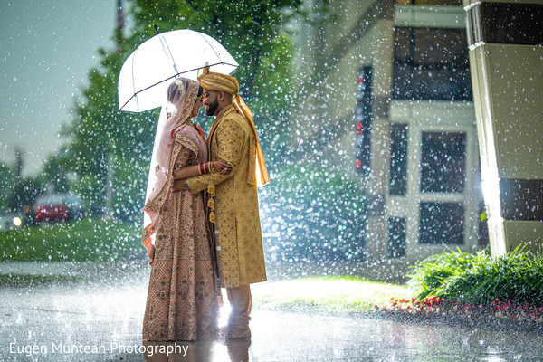 Indian couple in their wedding attires during photo session